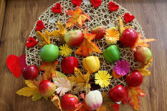 Vegetables decorative. Vegetables of autumn decorative craftsmanship on the door Stock Photography