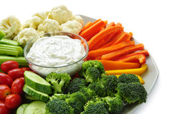 Vegetables and dip Stock Photography