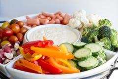 Vegetables and dip party platter 2. Vegetables and dip party platter Royalty Free Stock Images