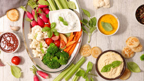 Vegetables and dips Stock Image