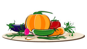 Vegetables on dish. Vegetables colored on brown dish Royalty Free Stock Photos