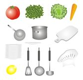 Vegetables and dishes set icons. Vegetables set and dishes series of kitchen illustrations Stock Images