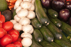 Vegetables on display. At the open air market Royalty Free Stock Photos