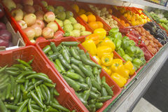 Vegetables Display. A selection of vegetables and fruits in a local store Royalty Free Stock Photography