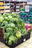 Vegetables on display in a super market.. stock photo