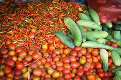 Vegetables displayed at a food marketplace. Fresh group of vegetables displayed at a food market in lobok, indonesia Royalty Free Stock Photography