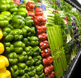 Vegetables displayed inside a grocery store