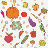 Vegetables doodle seamless pattern Stock Photo