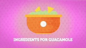 Vegetables drawn in a stylized way, for the representation of the recipe of guacamole stock image