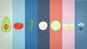 Vegetables drawn in a stylized way, for the representation of the recipe of guacamole stock photo