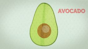 Vegetables drawn in a stylized way, for the representation of the recipe of guacamole royalty free stock photography