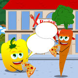 Vegetables eating pizza in front of a restaurant with speech bubble Royalty Free Stock Photos