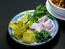 Vegetables for eating with Thai noodle or Kow Soi, Thailand nort. Hern food Royalty Free Stock Photo