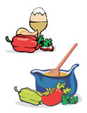 Vegetables_egg_cooking. Vegetables, egg and kettle for preparing of meal. Vector illustration Stock Photos