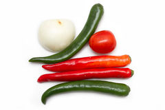 Vegetables and egg Paprika Onion Tomato. Isolated Royalty Free Stock Photo