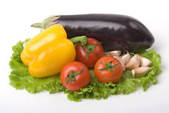 Vegetables with eggplant. On a list of a salad Royalty Free Stock Image