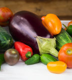 Vegetables, eggplant, peppers, cucumber,pepperoni and tomatoes Stock Image