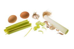 Vegetables and eggs stock photography