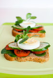 Vegetables and eggs sandwiches Royalty Free Stock Photos