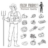 Vegetables and farmer fo. Hand drawn vegetables and farmer for the agricultural design Stock Photos