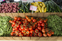 Vegetables at a farmers market. Vegetables are displayed for sale at a farmers market in Colorado Stock Photos