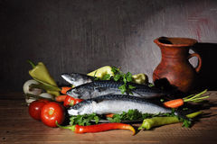 Vegetables and fish Royalty Free Stock Images