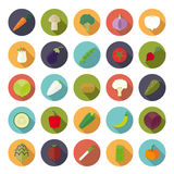 Vegetables Flat Design Vector Icon Set. Collection of 25 vegetables icons in circles, flat design, long shadow Stock Photography
