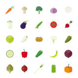 Vegetables Flat Design Vector Icon Set. Collection of 25 vegetables flat design icons isolated on white background Royalty Free Stock Image