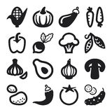 Vegetables flat icons. Black Royalty Free Stock Photo