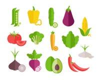 Vegetables flat icons set. vector illustration