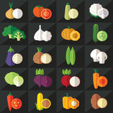 Vegetables flat icons set vector Stock Image