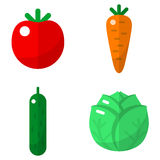 Vegetables flat icons set Royalty Free Stock Photos