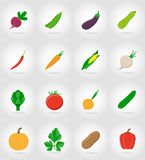 Vegetables flat icons with the shadow vector illustration Royalty Free Stock Image