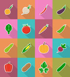 Vegetables flat icons with the shadow vector illustration Stock Photo
