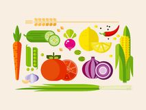 Vegetables in Flat Style Stock Image