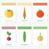 Vegetables. Flat vector set of cards Stock Image