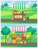 Vegetables and Flower Shop at Outdoor Market Set. People selling on market vector, set of salesperson with products, vegetables and flower business. Person with vector illustration