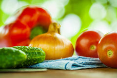 Vegetables (focus on cucumber) Royalty Free Stock Image