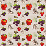 Vegetables and Foliage Seamless Pattern - Pepper, Eggplant, Garlic and Walnuts Stock Photo