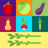 Vegetables food cellulose vector set. Cabbage, peppers, tomatoes, carrots, porridge cellulose isolated on white background. Healthy food concept Royalty Free Stock Photo