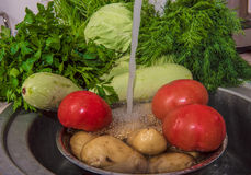 Vegetables food kitchen sink wet red organic fruits tomato domes. Preparation a useful vegetarian dish by a dinner Royalty Free Stock Photography