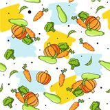 Vegetables food pattern. Colourful seamless pattern with healthy food icons and brush strokes. Vector vegetables background with carrot, pumpkin, zucchini vector illustration