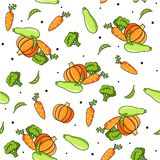 Vegetables food pattern. Colourful seamless pattern with healthy food icons. Vector vegetables background with carrot, pumpkin, zucchini, broccoli for cooking vector illustration