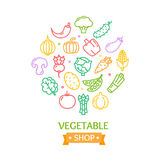 Vegetables Food Shop Color Round Design Template Outline Icon Concept. Vector Stock Photo