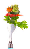 Vegetables on fork Royalty Free Stock Images