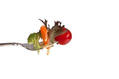 Vegetables on a Fork Royalty Free Stock Photos