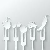 Vegetables fork paper cut background Stock Photos