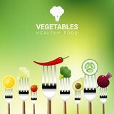 Vegetables on forks isolated on natural background , healthy food concept. Vector , illustration Stock Images