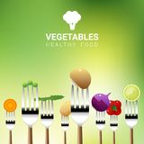 Vegetables on forks isolated on natural background , healthy food concept. Vector , illustration Stock Photography