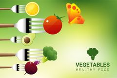 Vegetables on forks isolated on natural background , healthy food concept. Vector , illustration Royalty Free Stock Photos